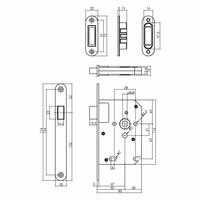 Woningbouw magneet loopslot, voorplaat afgerond zwart, 20x175, doorn 50mm incl. sluitplaat/kom