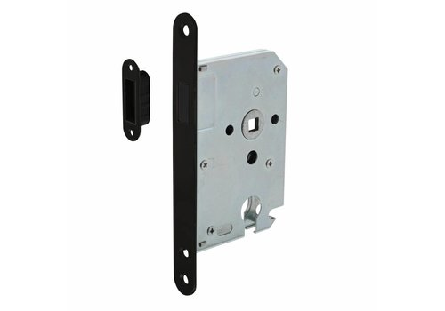 Black magnetic cylinder day and night lock 55mm, front plate rounded black, 20x175, mandrel 50mm incl. striker plate/bowl
