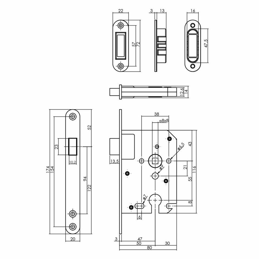 Zwart magneet cilinder dag- en nachtslot 55mm, voorplaat afgerond zwart, 20x175, doorn 50mm incl. sluitplaat/kom