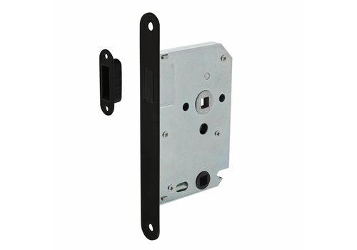 Black magnet bathroom / toilet lock 63 / 8mm, front plate rounded black, 20x175, mandrel 50mm incl. Lock plate / bowl