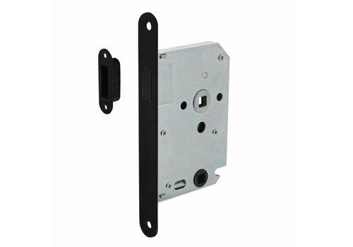Schwarzer Magnet Bad- / Toilettenschloss 63 / 8mm, Frontplatte gerundet schwarz, 20x175, Dorn 50mm inkl. Schlossplatte / Schüssel