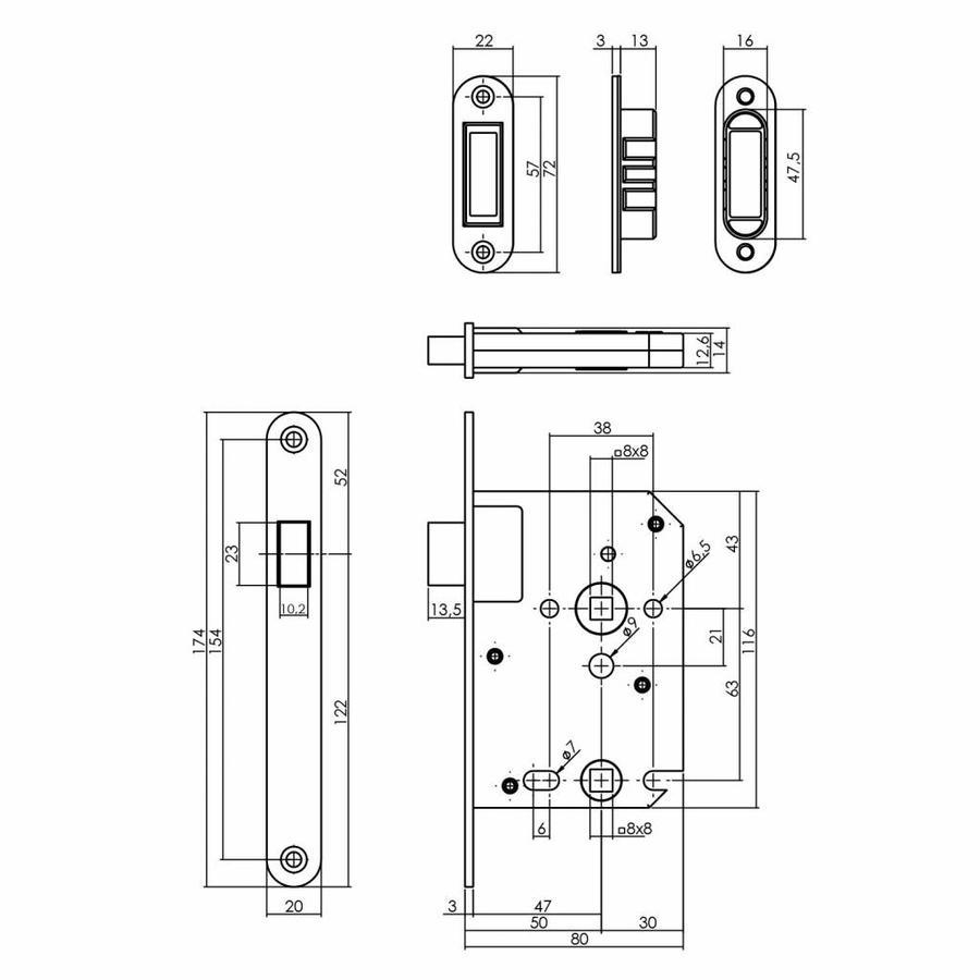 Zwart magneet badkamer/toilet slot 63/8mm, voorplaat afgerond zwart, 20x175, doorn 50mm incl. sluitplaat/kom
