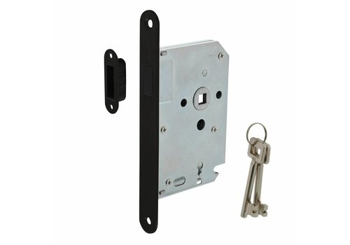 Zwart magneet klavier dag- en nachtslot 55mm, voorplaat afgerond zwart, 20x175, doorn 50mm incl. sluitplaat/kom en 2 sleutels