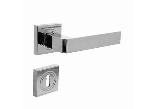 Door handle Elegant on square rosette with keyhole plates chrome