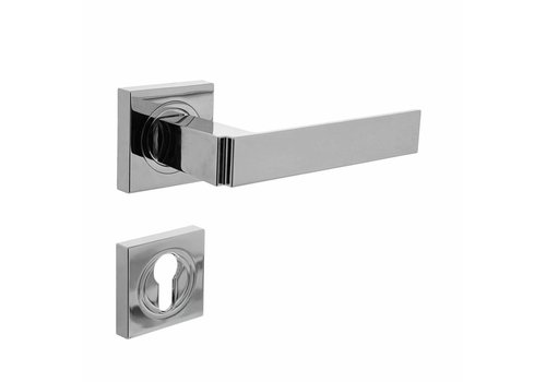 Door handle Elegant on square rosette with profile cylinder hole plates chrome