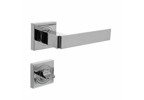 Door handle Elegant on square rosette with WC8mm chrome
