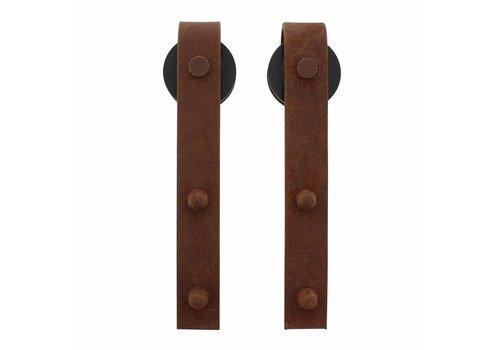 Jeu de 2 roulettes droites 290mm pour système de porte coulissante 450101, fixations incluses, finition acier antique