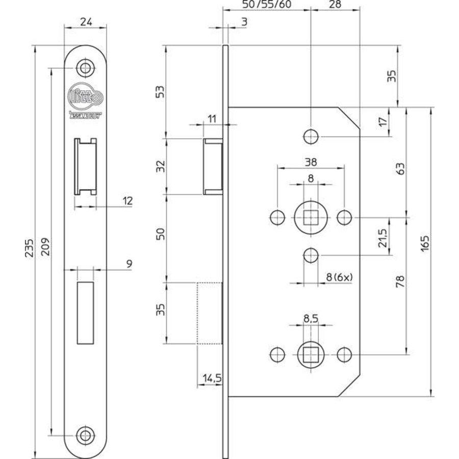 Litto project WC-slot E6 - asmaat 78mm - doorn 50 - afgeronde voorplaat 235x24mm