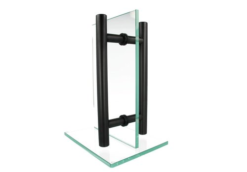Black door handle T 30/900/1200 pair for glass