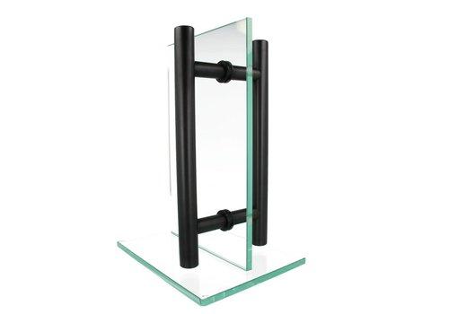 Black door handle T 30/1500/1800 pair for glass