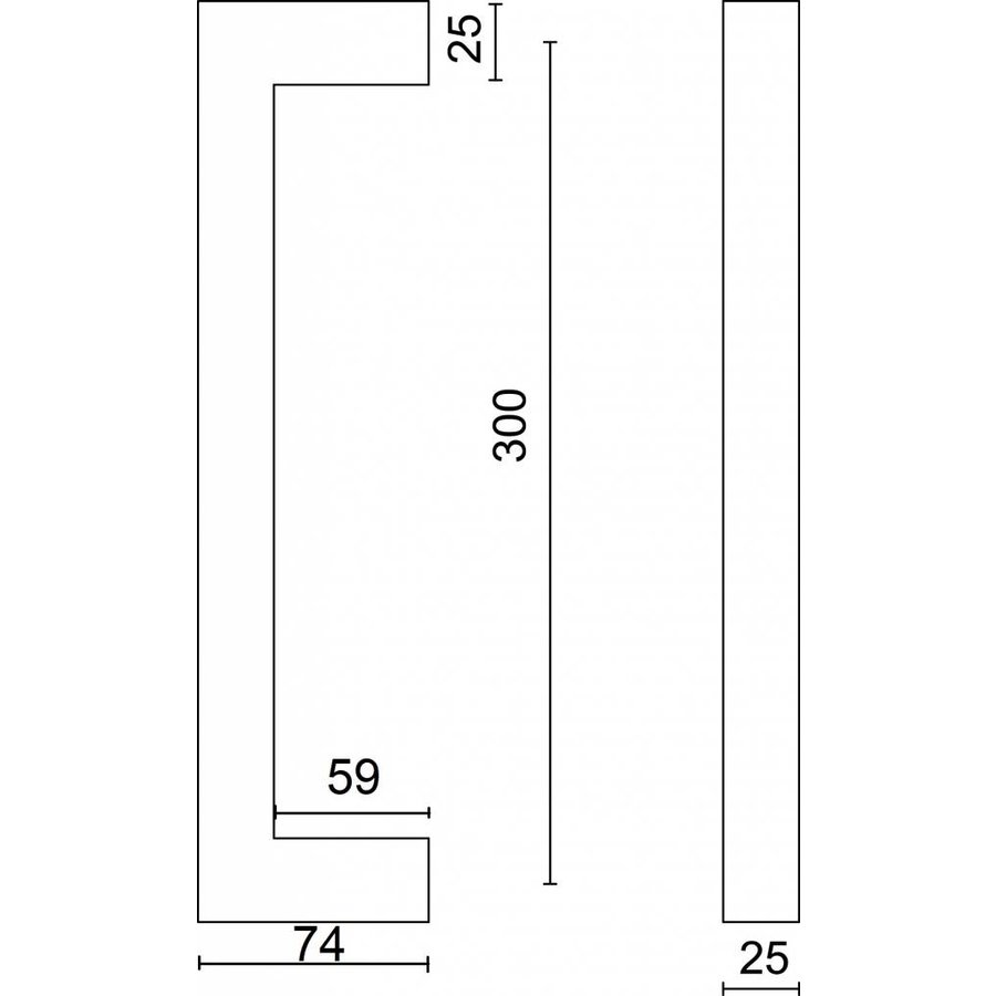 Deurgreep Cubica 25/300 inox plus deurdikte > 3 cm