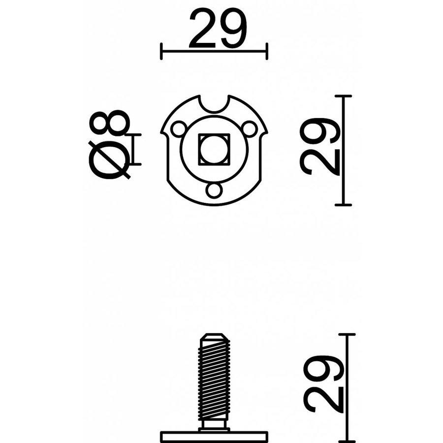 Bevestigingsplaatje voor kastdeur + Stift 8X8MM