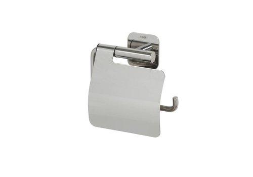 Tiger Colar Porte-rouleau papier toilette avec couvercle Acier inoxydable poli