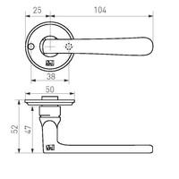 """Zwarte deurklinken PHL """"L+L"""" -50mm - verouderd ijzer (VO) zonder sleutelplaatjes"""