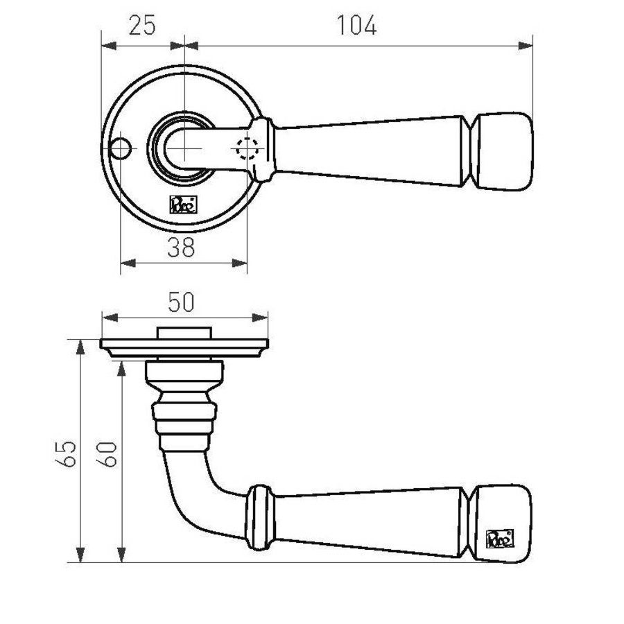 Deurklinken PH1830 verouderd ijzer - zwart zonder sleutelplaatjes