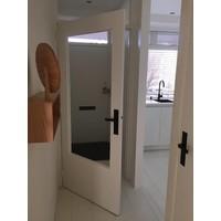 Door handle pair Amsterdam on blind renovation shield 2mm matt black