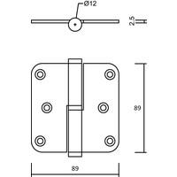 RVS Paumelle 89x89x2,5mm links afgerond
