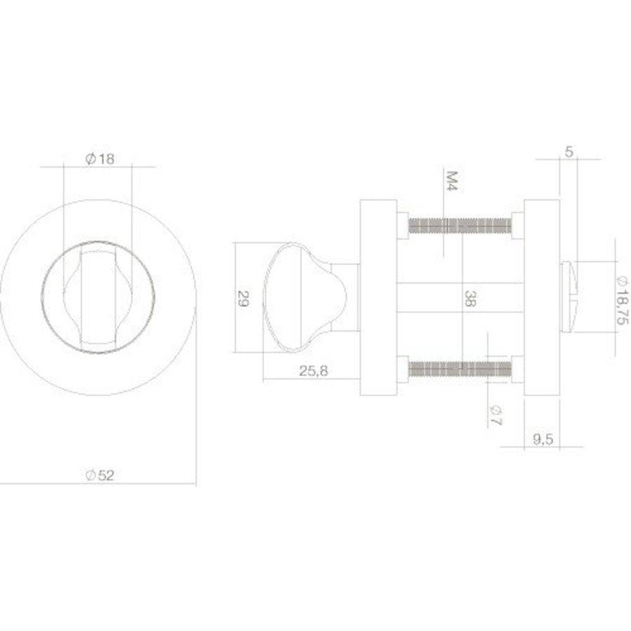 WC-Sluiting 8mm rond 53x8mm met 7mm nokken mat zwart