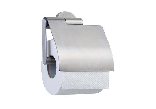 Tiger Boston Toilettenpapierhalter mit Deckel in gebürstetem Edelstahl
