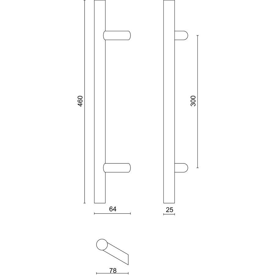 RVS deurgreep ST 25/300/460 - doorgaande bevestiging