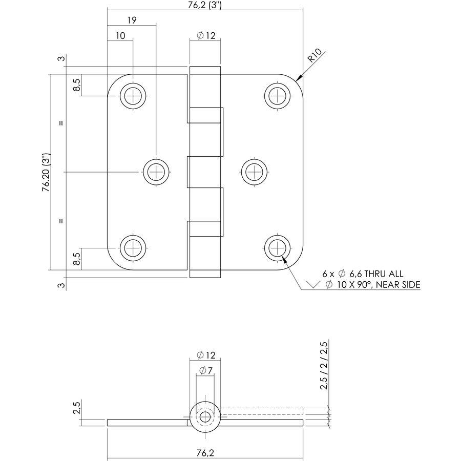 """Kogelscharnier afgerond 3"""" 76x76x2.5mm RVS zwart + 6 schroeven"""