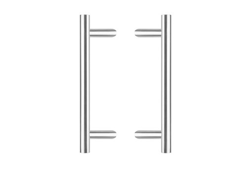 Poignées de porte par paire, en T incliné 25/500/700 - 85mm - acier inoxydable