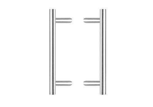 Poignées de porte par paire T-slant 25/500/700 - 85mm - acier inoxydable