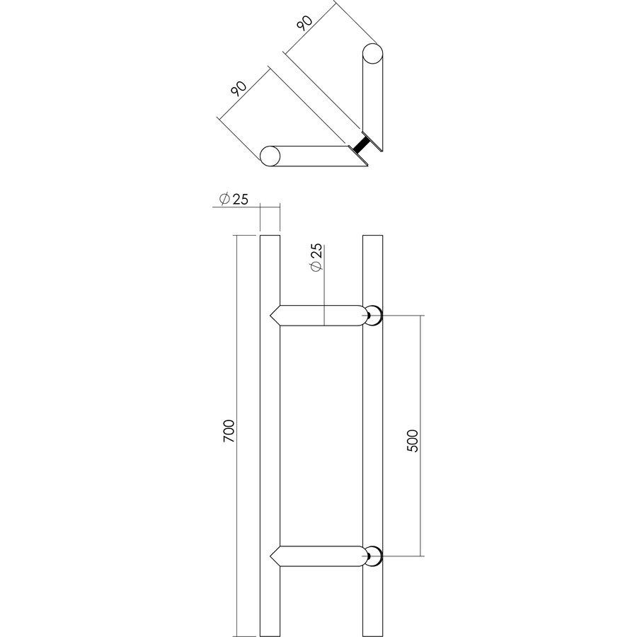 RVS Deurgrepen per paar T-schuin 25/500/700 - diepte 85mm - incl bevestiging voor glas en deur tot 65mm