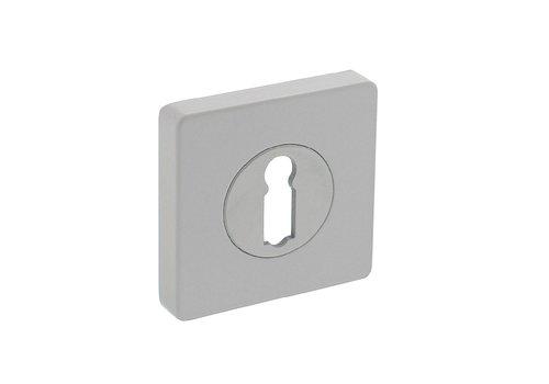 Paar sleutelgat plaatjes vierkant 55x55x10mm met nokken wit