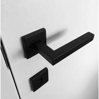 Zwarte deurklinken Kubic Shape met profielcilinderplaatjes