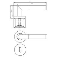 Massieve deurkruk Bastian op ronde rozet 53x8mm met nokken + sleutelplaatjes mat zwart