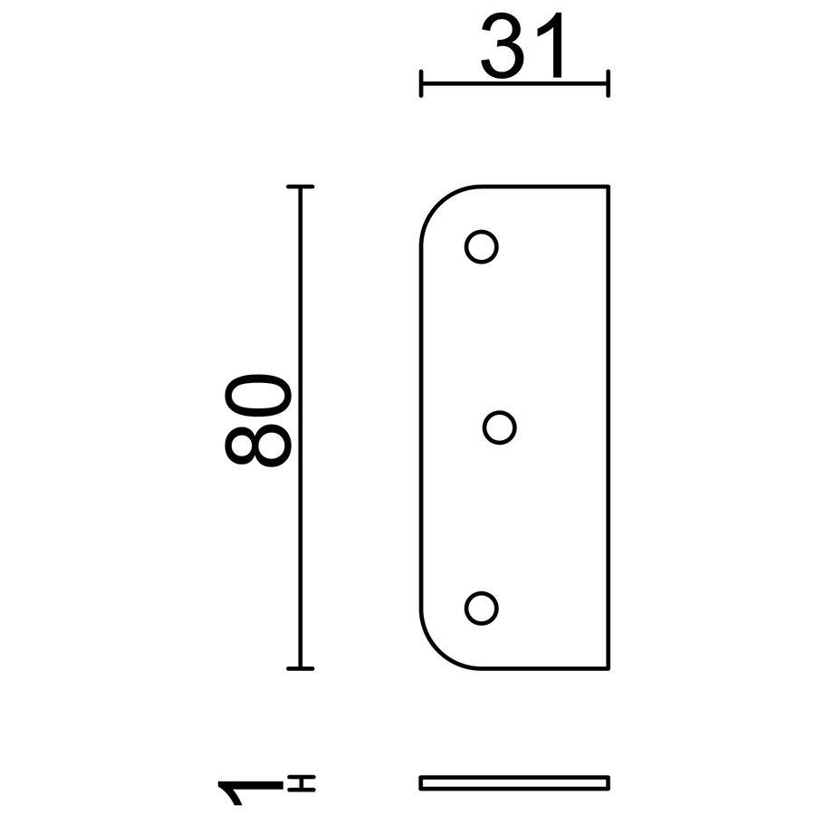 Adapterplatte für Scharnier 1 mm Edelstahl