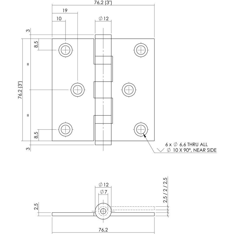 """Kogellagerscharnier recht 3"""""""" (76x76x2,5) RVS 304 + 6 schroeven"""