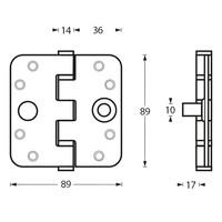 RVS Kogellagerscharnier 89x89x3mm met ronde hoeken en ingebouwde dievenklauw
