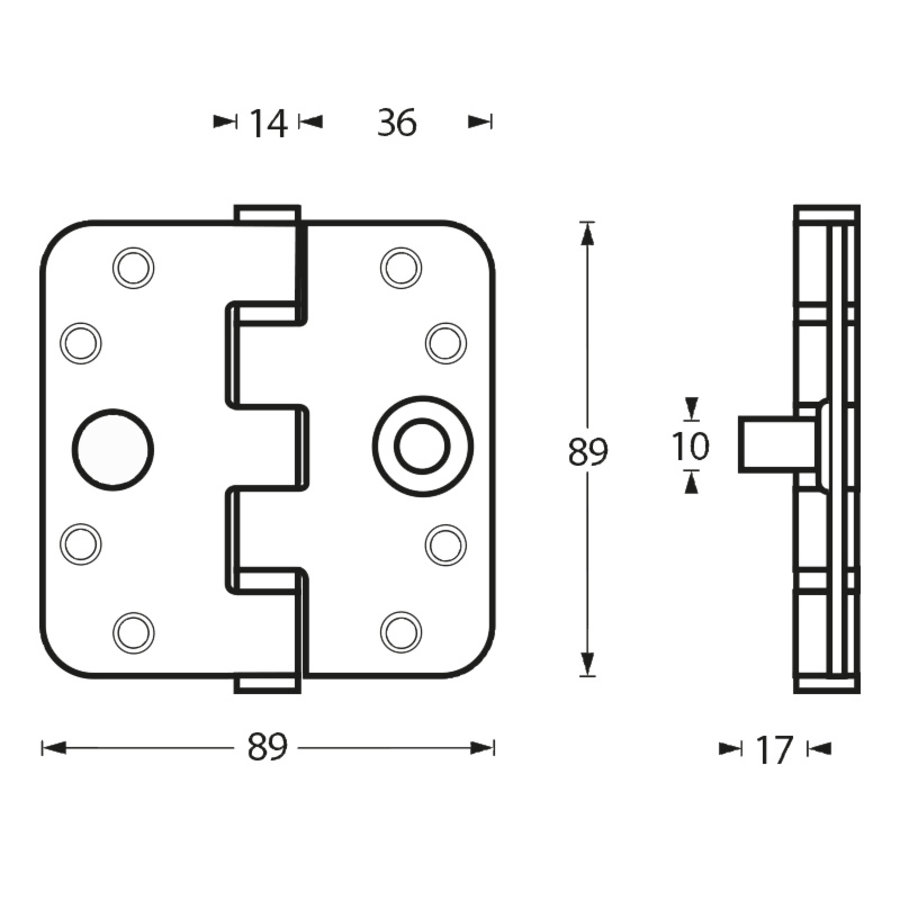 Stainless steel ball bearing hinge 89x89x3mm with round corners and built-in thieves claw