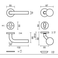 FIXED TOP BS 50 ON ROSE + L SHAPE 19MM R + SAFETY ROSE 10MM