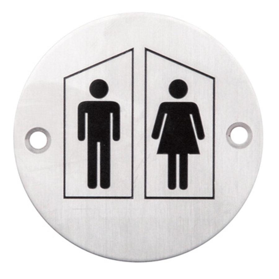Edelstahlpiktogramm um WC männlich + weiblich