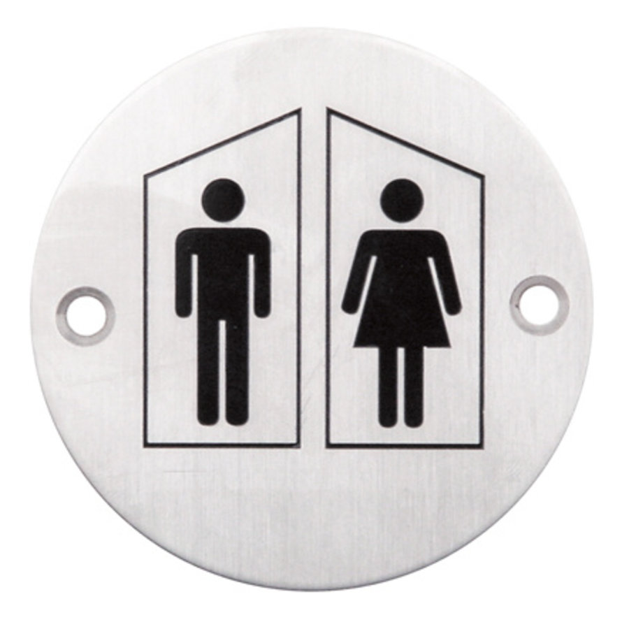 Stainless steel pictogram around toilet male + female