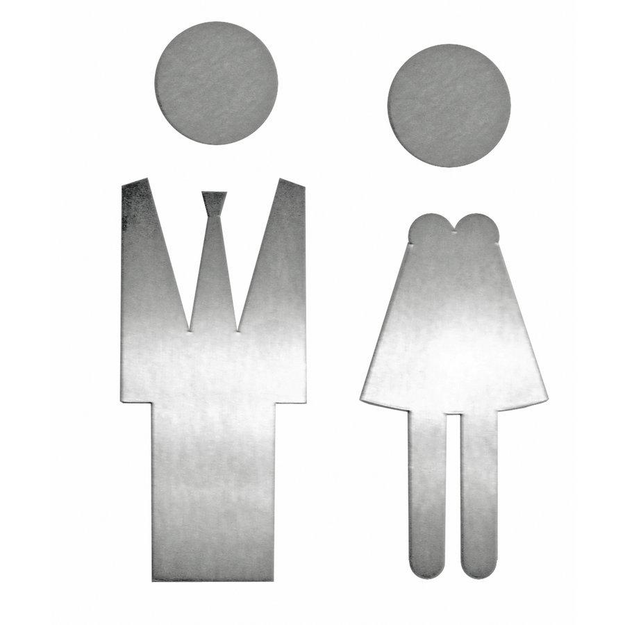 Picto Edelstahl großer Mann + Frau