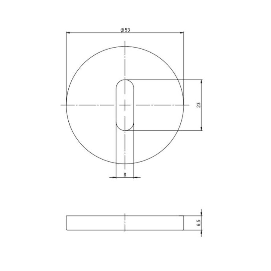 Paar RVS sleutelrozetten rond 53x6.5mm