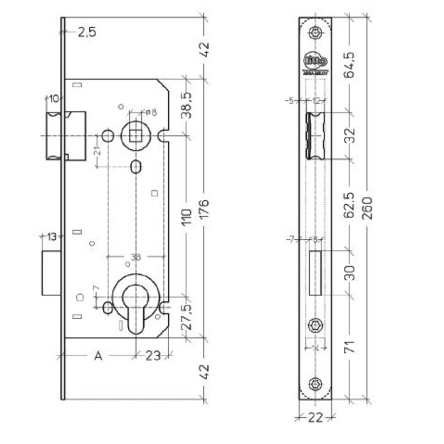 Litto Day and night cylinder lock shaft size 110mm / mandrel 55mm, stainless steel look with straight face plate 260x22mm