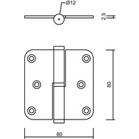 Paumelle skin 80x80x2.5 old brass right 3 pieces + screws