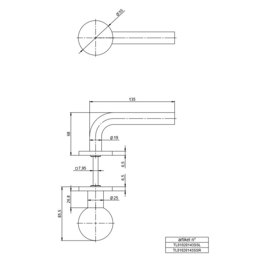 """Spherische draaiknop met kruk """"L"""" 19mm RECHTS met 2 cilinderrozetten"""