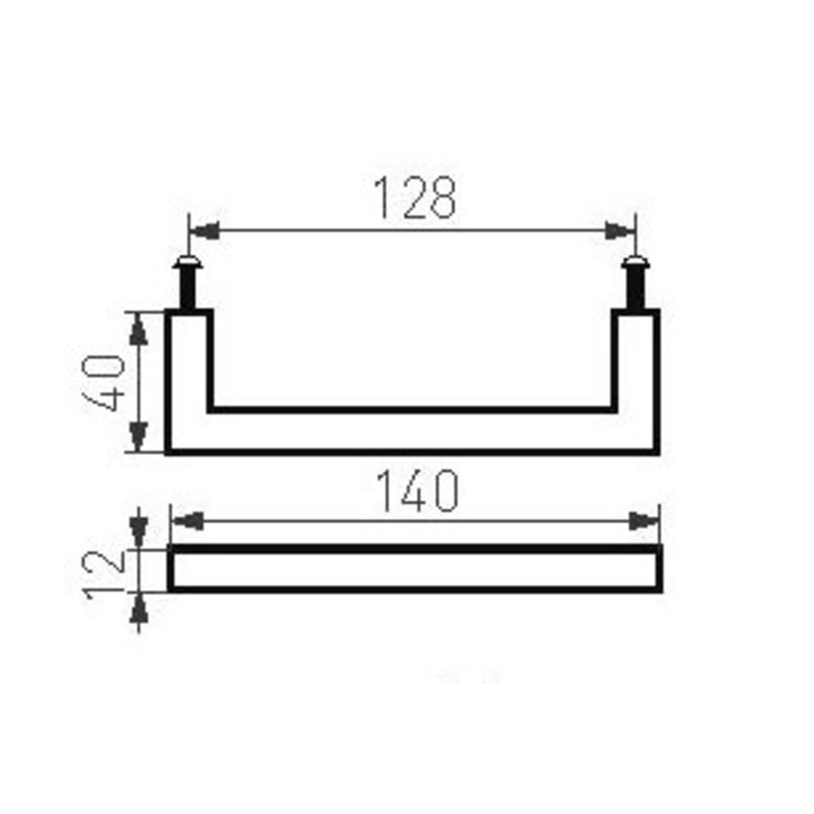 Furniture handle PMQ-128 aged iron - black 128mm