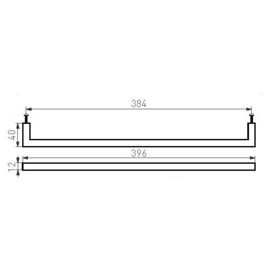 Möbelgriff PMQ-384 gealtertes Eisen - schwarz 384 mm