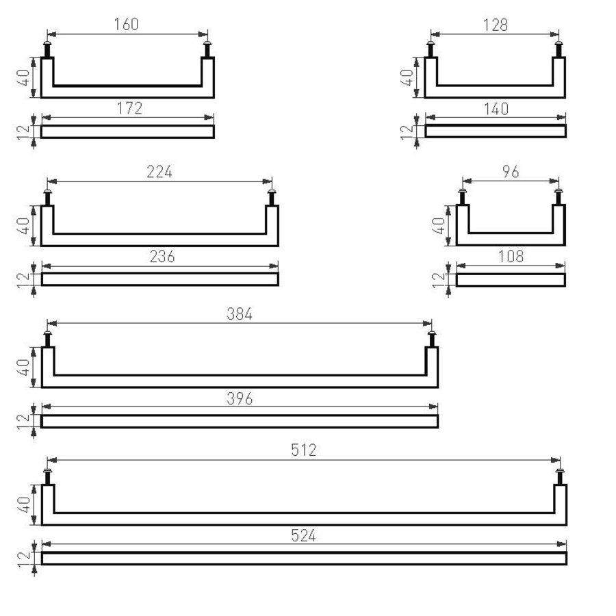 Möbelgriff PMQ-512 gealtertes Eisen - Schwarzes 512mm