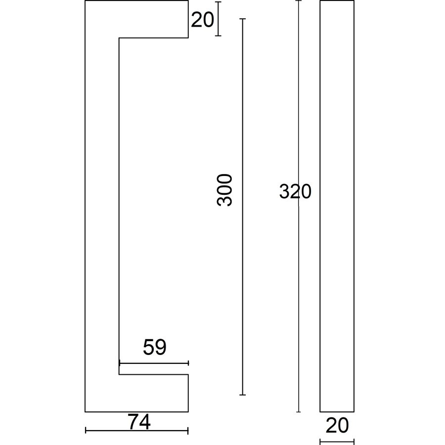 Pair of door handles Cubica 20/300 pair for glass black