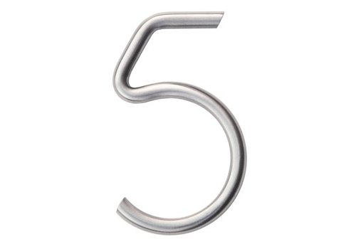 Stainless steel house number 5 round 130mm