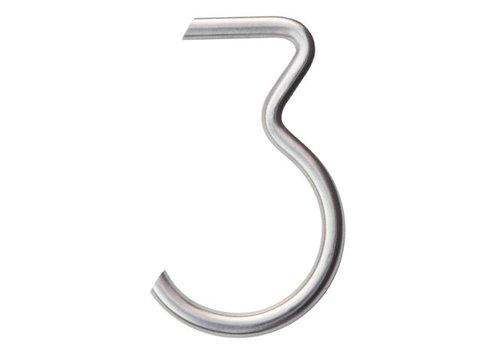 Stainless steel house number 3 round 130mm