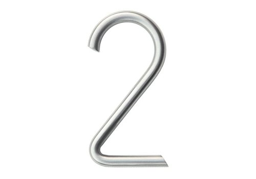 Stainless steel house number 2 round 130mm